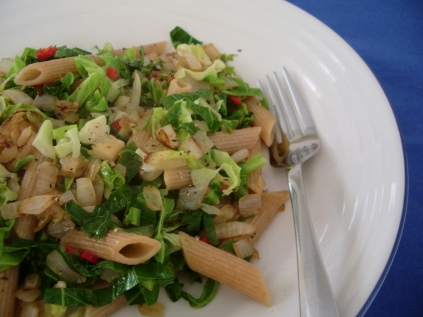 Pasta with greens, garlic and chilli