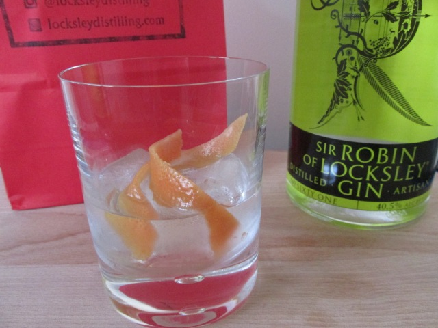 Sir Robin of Locksley Gin - on the rocks with grapefruit zest